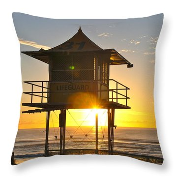 Throw Pillow featuring the photograph Gold Coast Life Guard Tower by Eric Tressler