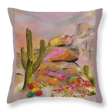 Throw Pillow featuring the painting Gold-lined Rocks by Judith Rhue