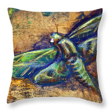 Gold Moth Throw Pillow