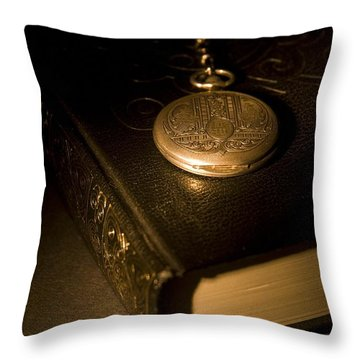Gold Pocket Watch Resting On A Book Throw Pillow by Philippe Widling