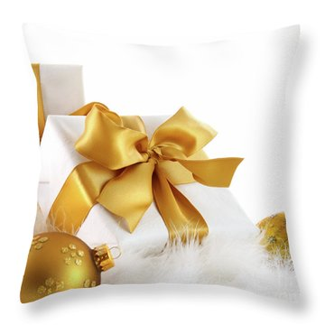 Gold Ribboned Gifts With Christmas Balls  Throw Pillow by Sandra Cunningham
