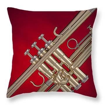 Gold Trumpet Isolated On Red Throw Pillow