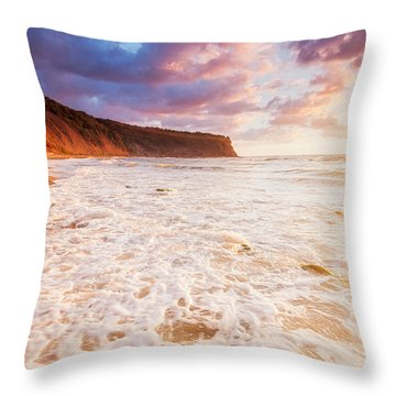 Golden Bay Throw Pillow by Evgeni Dinev