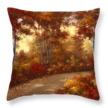 Golden Birch Throw Pillow by Diane Romanello