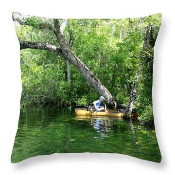 Golden Canoe Launch Throw Pillow