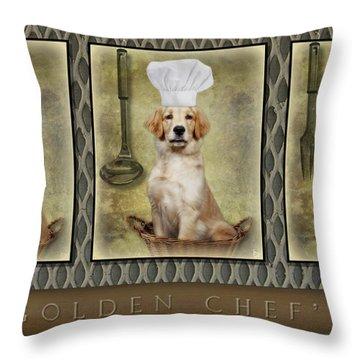 Golden Chef's Throw Pillow by Susan Candelario