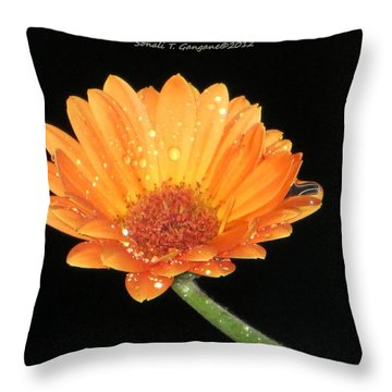 Golden Droplets Throw Pillow