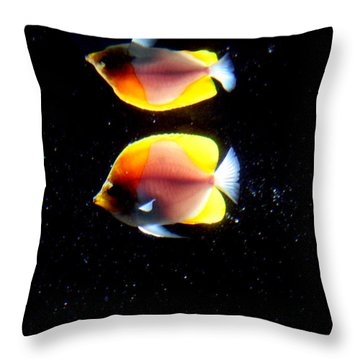Golden Fish Reflection Throw Pillow