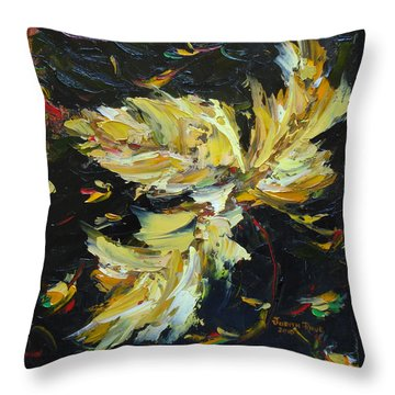 Throw Pillow featuring the painting Golden Flight by Judith Rhue