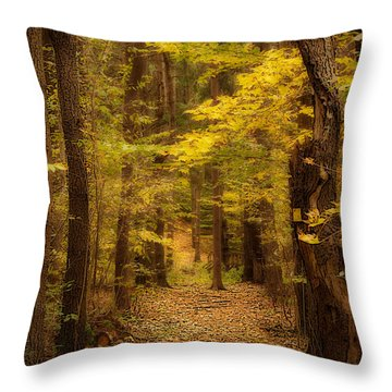 Golden Forest Throw Pillow