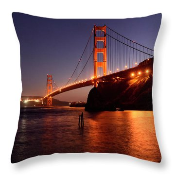 Golden Gate Bridge At Night 2 Throw Pillow by Bob Christopher