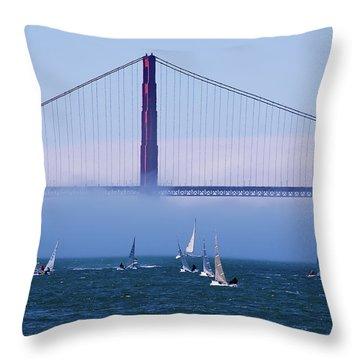 Throw Pillow featuring the photograph Golden Gate Windsurfers by Don Schwartz