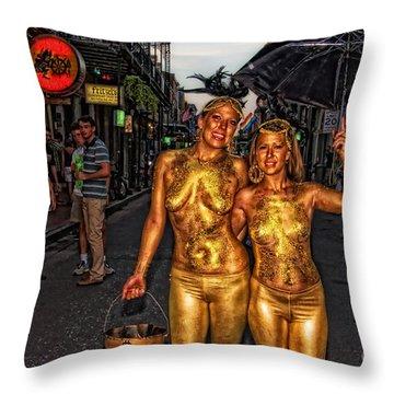 Golden Girls Of Bourbon Street  Throw Pillow by Kathleen K Parker