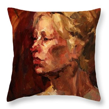 Golden Hair Portrait Of Woman Head In Crimson Yellow Hardworking Fieldworker Mother Whos Thoughtful Throw Pillow