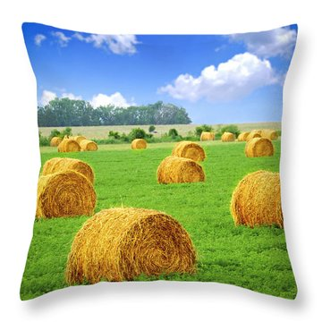 Golden Hay Bales In Green Field Throw Pillow by Elena Elisseeva
