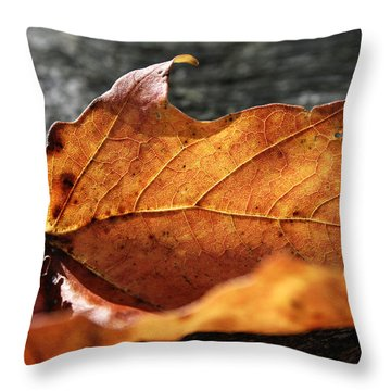 Golden Leaf Throw Pillow