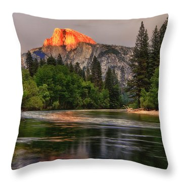 Golden Light On Halfdome Throw Pillow