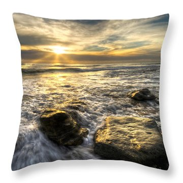Golden Nuggets Throw Pillow by Debra and Dave Vanderlaan