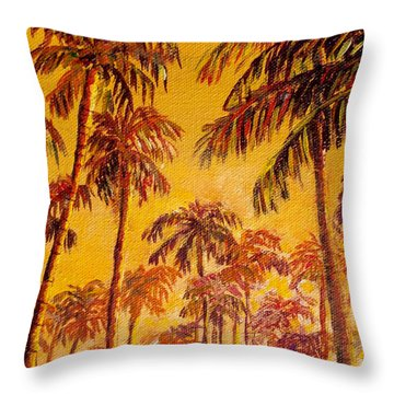 Throw Pillow featuring the painting Golden Palm Trees by Lou Ann Bagnall