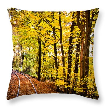 Throw Pillow featuring the photograph Golden Rails by Sara Frank