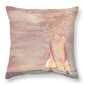Golden Sails Throw Pillow