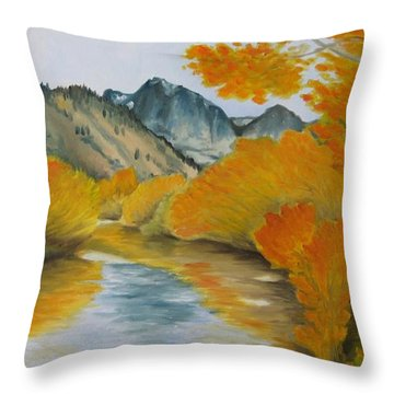 Golden Serenity Throw Pillow by Jindra Noewi