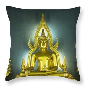 Golden Sitting Buddha Throw Pillow by Gloria and Richard Maschmeyer