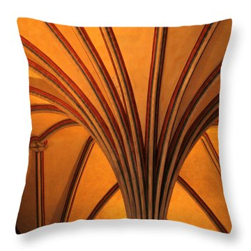 Golden Vaulted Ceiling In Malbork Castle II Throw Pillow by Greg Matchick