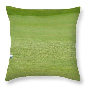 Golf Balls Near Flagstick Throw Pillow by Henrik Lehnerer