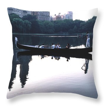 Gondola On The Central Park Lake Throw Pillow by Tom Wurl