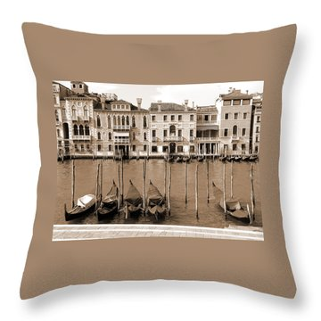 Throw Pillow featuring the photograph Gondolas Outside Salute by Donna Corless