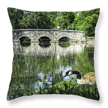 Throw Pillow featuring the photograph Goose And Bridge At Silver Lake by Tom Gort