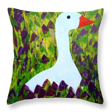 Throw Pillow featuring the painting Goose by Barbara Moignard