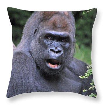 Gorilla Throw Pillow by Mike Martin