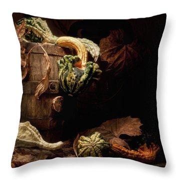 Gourds And Leaves Still Life Throw Pillow by Tom Mc Nemar