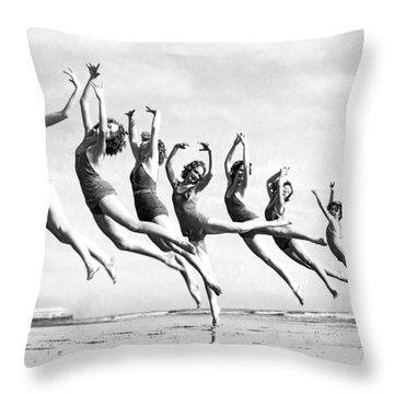 Graceful Line Of Beach Dancers Throw Pillow