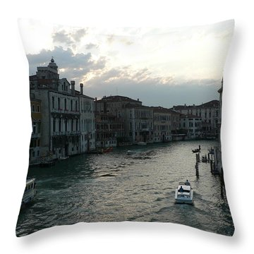 Throw Pillow featuring the photograph Grand Canal At Dusk by Laurel Best