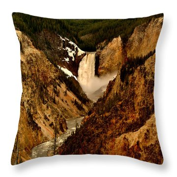 Grand Canyon Of The Yellowstone Throw Pillow by Ellen Heaverlo