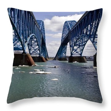 Throw Pillow featuring the photograph Grand Island Bridges by Darleen Stry