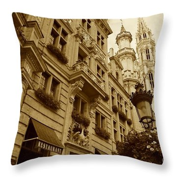 Grand Place Perspective Throw Pillow by Carol Groenen