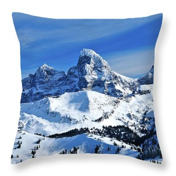Throw Pillow featuring the photograph Grand Teton Winter by Greg Norrell