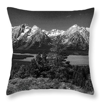 Throw Pillow featuring the photograph Grand Tetons by Dan Wells