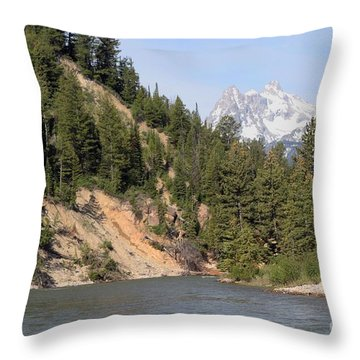 Throw Pillow featuring the photograph Grand Tetons From Snake River by Living Color Photography Lorraine Lynch