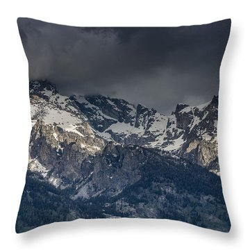 Grand Tetons Immersed In Clouds Throw Pillow by Greg Nyquist