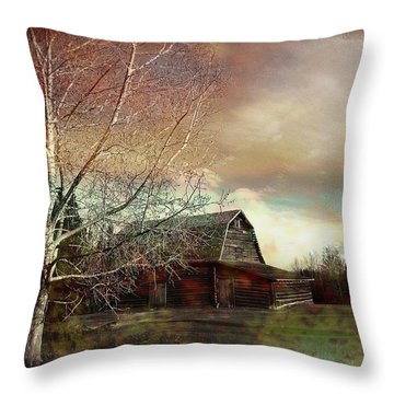 Grandpa's Barn Throw Pillow by Shirley Sirois