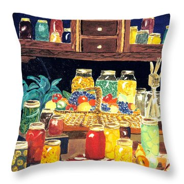 Granny's Cupboard Throw Pillow