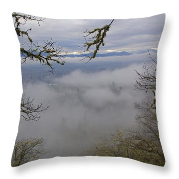 Grants Pass In The Fog Throw Pillow by Mick Anderson