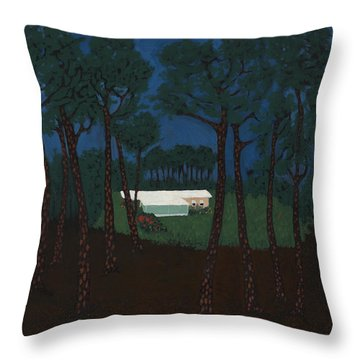Grant's Woods Throw Pillow