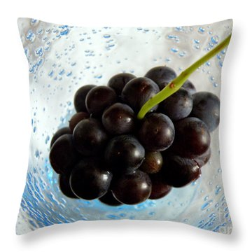 Grape Cluster In Biot Glass Throw Pillow by Lainie Wrightson