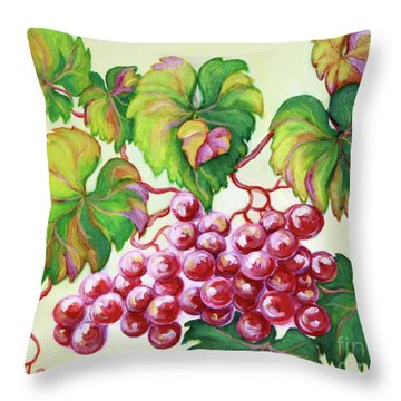 Throw Pillow featuring the painting Grape Study 2 by Inese Poga